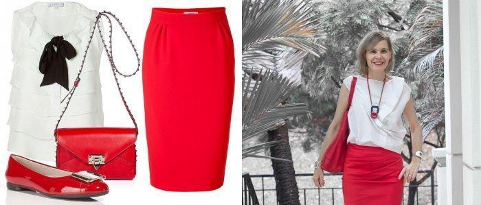 Красная юбка-карандаш с белой блузой