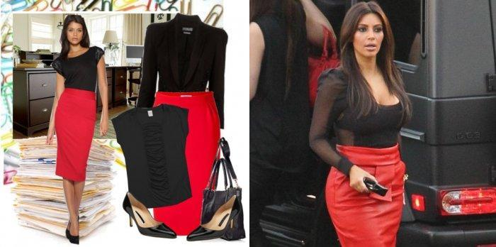 Красная юбка-карандаш в сочетании с черным верхом