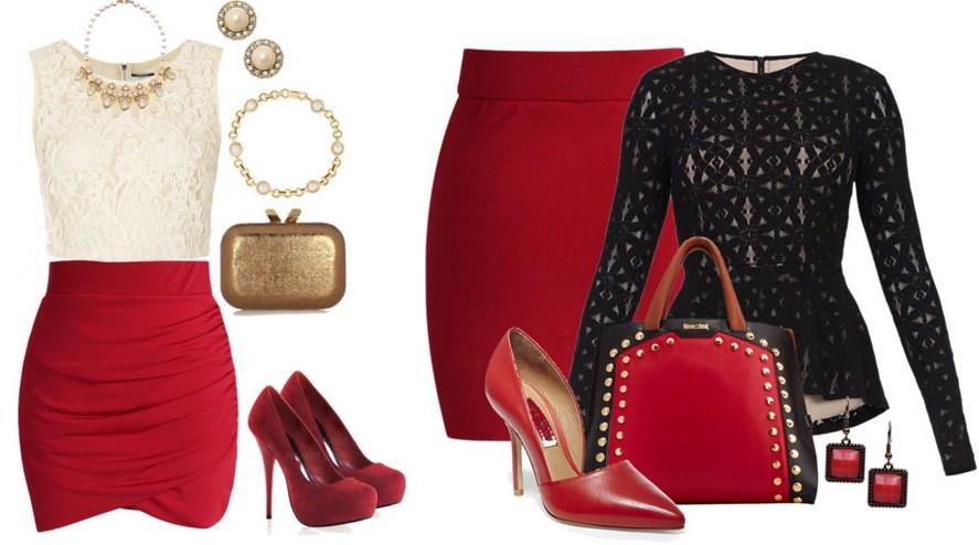 Красная юбка-карандаш с черной блузой