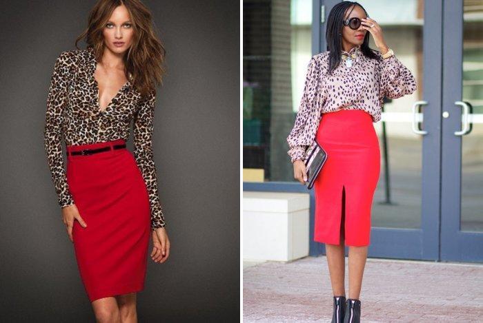 Леопардовая блуза для красной юбки-карандаш