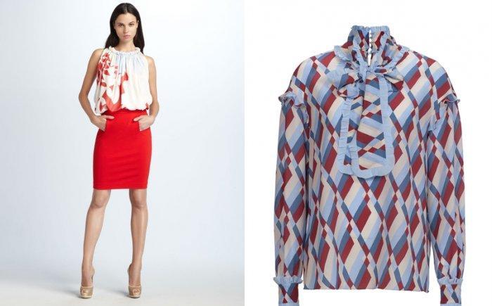 Блуза с крупным рисунком для красной юбки-карандаш