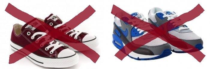 Кеды и кроссовки не подходят к красной юбке-карандаш
