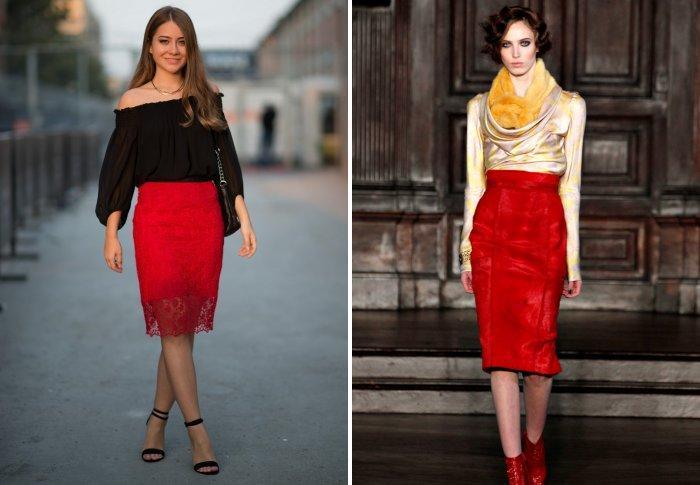 Красная юбка-карандаш для романтических встреч