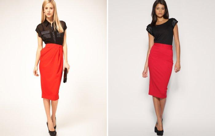 Красная юбка-карандаш из шифона