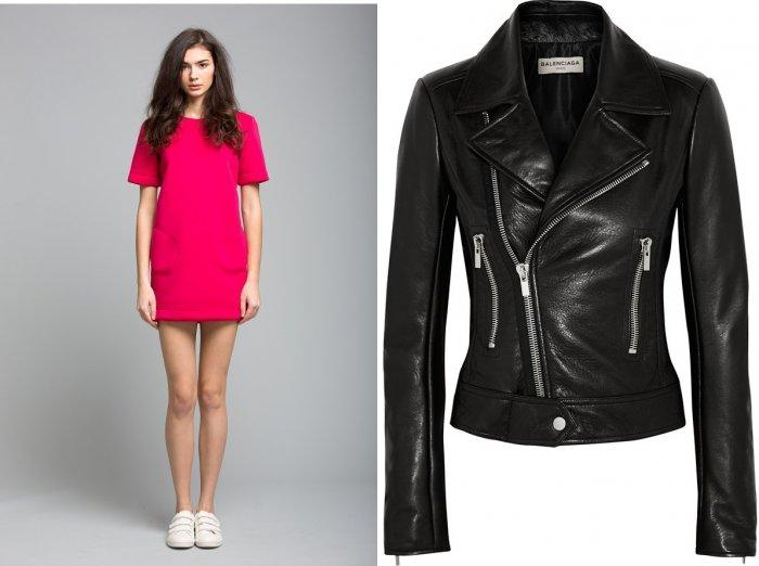 Короткое малиновое платье и куртка-косуха