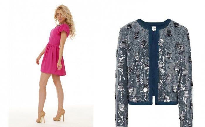 Малиновое платье в сочетании с серебристым клубным пиджаком