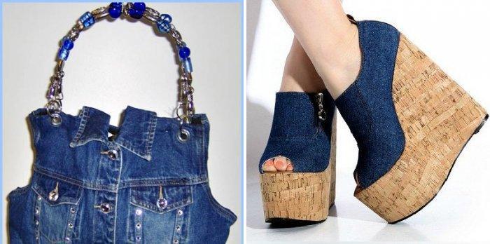 Джинсовая сумка и туфли к малиновому платью