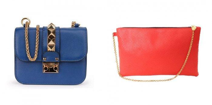 Синяя или коралловая сумочка для малинового платья