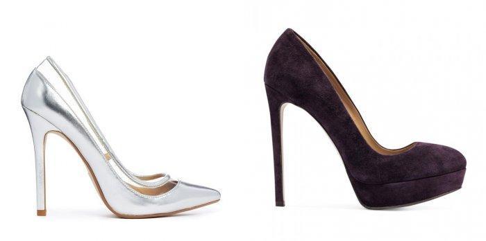 Серебристые и черные туфли лодочки к малиновому платью