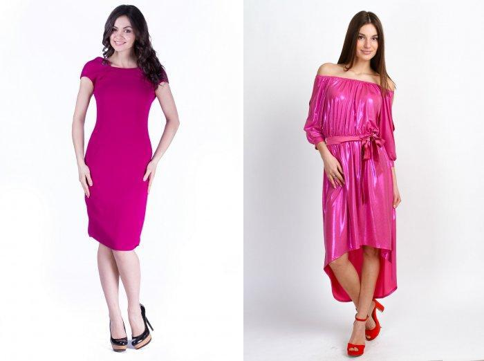 Малиновое платье ниже колена