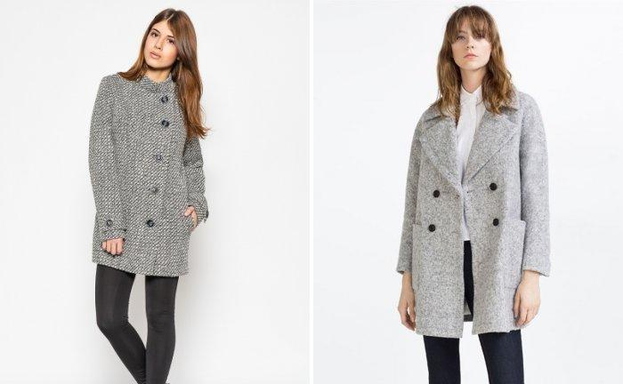 Серое буклированное пальто