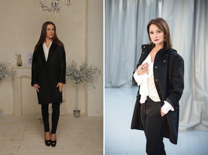 Черное пальто строгого покроя