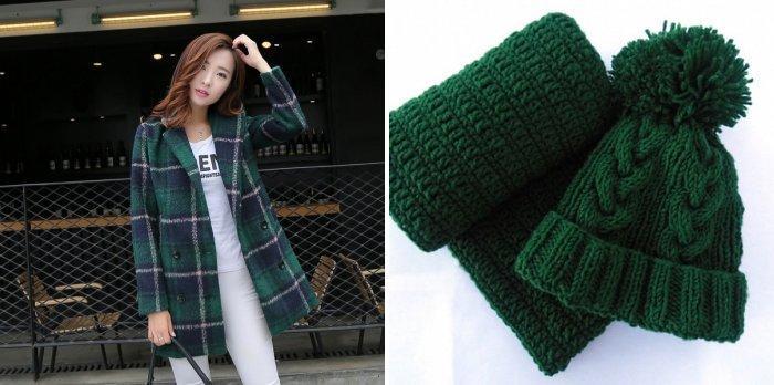 Пальто в клетку с зеленой шапкой и шарфом