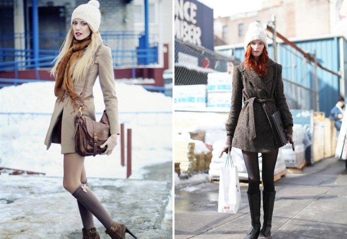Шапка крупной вязки под зимнее пальто