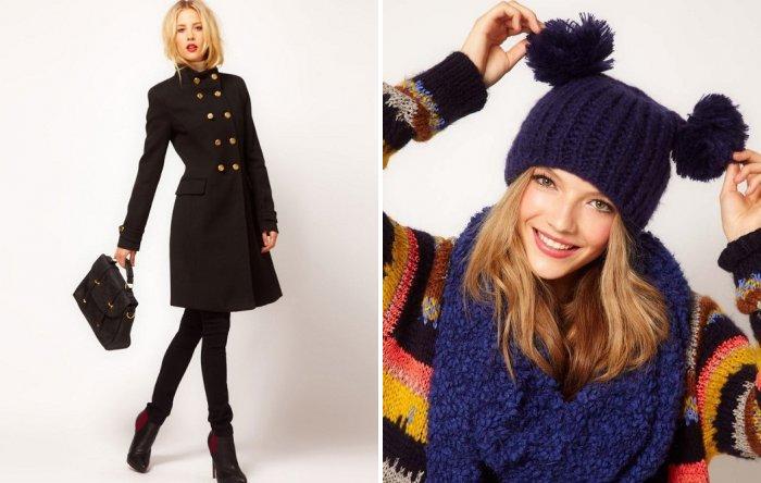 Классическое пальто с шапочкой с помпонами
