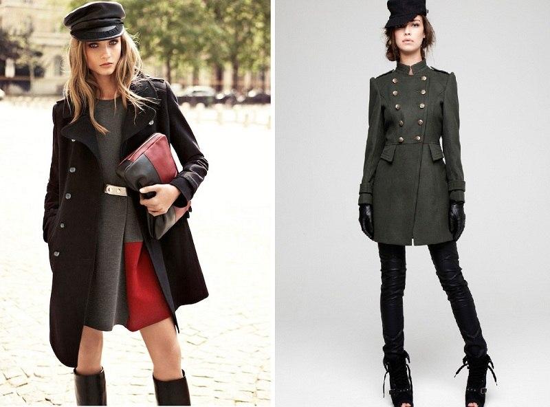 Модное пальто стиля милитари с беретом
