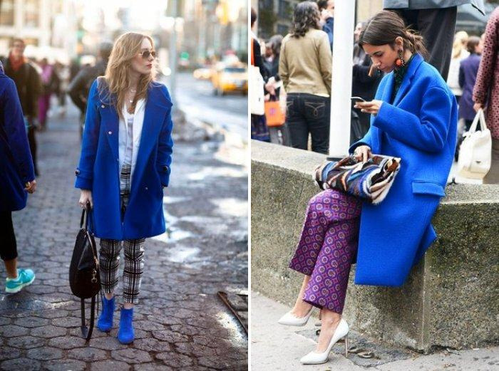 Синее пальто стиля оверсайз