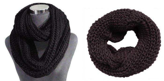 Объемный черный шарф для синего пальто стиля оверсайз