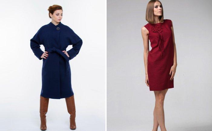 Темно-синее пальто и вишневое шелковое платье