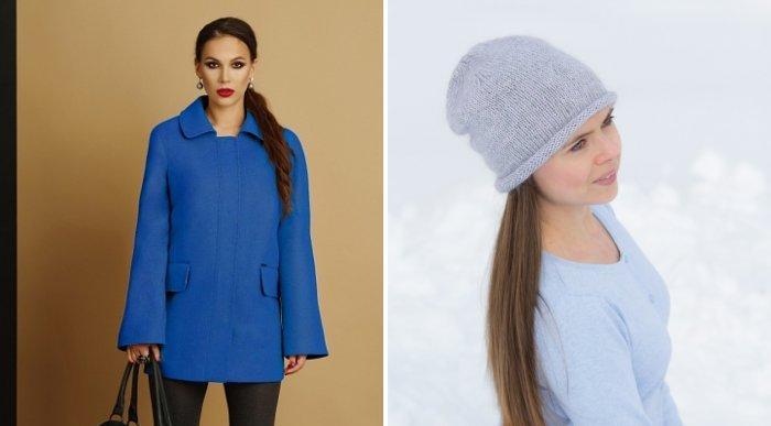 Синее пальто стиля кэжуал и тонкая шапочка
