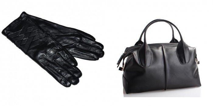 Черные кожаные перчатки и сумка для синего пальто