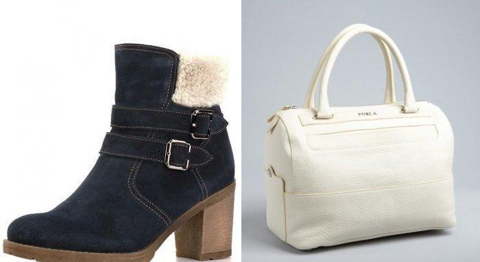Темная обувь и светлая сумка для синего пальто