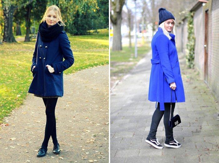 Синее пальто классического покроя