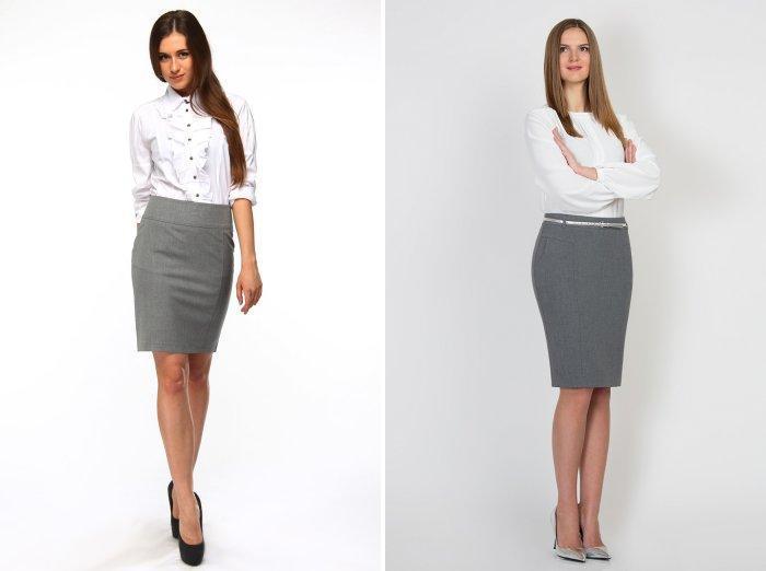 Серая юбка-карандаш и белая блуза