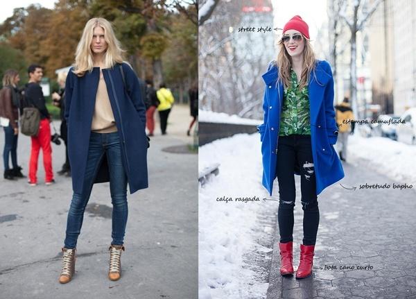 Короткое синее пальто с рваными джинсами