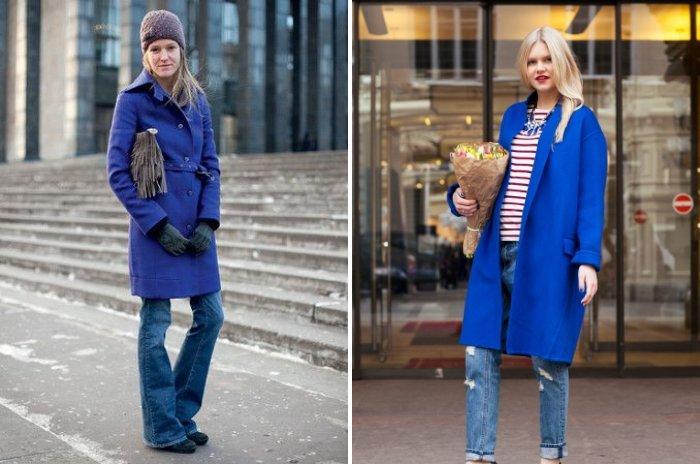Короткое синее пальто с джинсами