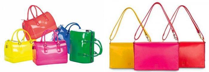 Яркие сумочки для зеленого пальто