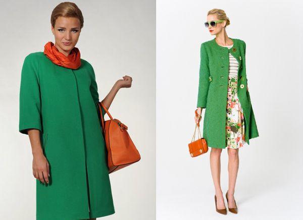 Шарф и сумочка оранжевого цвета для зеленого пальто