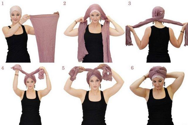 Стильный шарф на голове