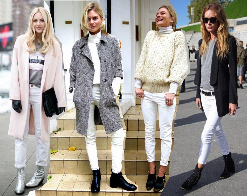 Сочетание пальто и джинс