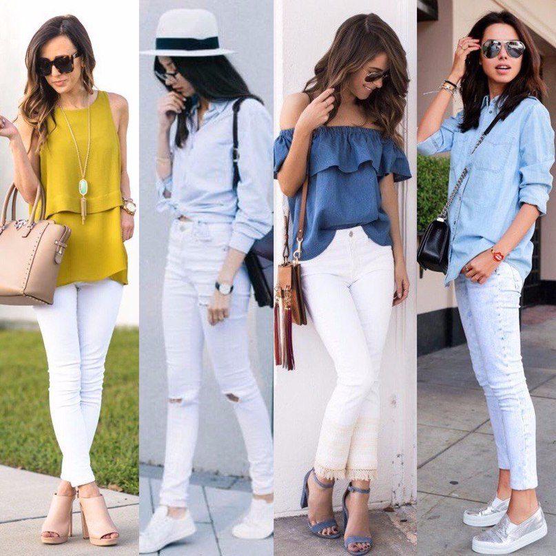 Блузка и белые штаны