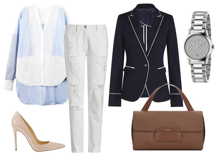 Строгий пиджак и белые джинсы
