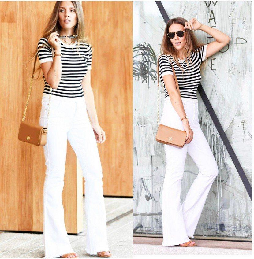 Белые джинсы с клешем