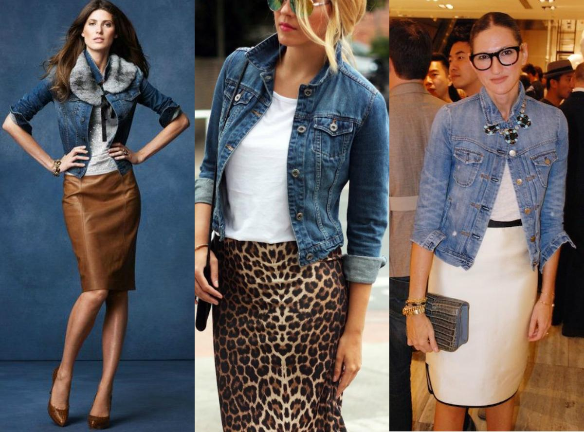 Юбка - карандаш и джинсовая рубашка