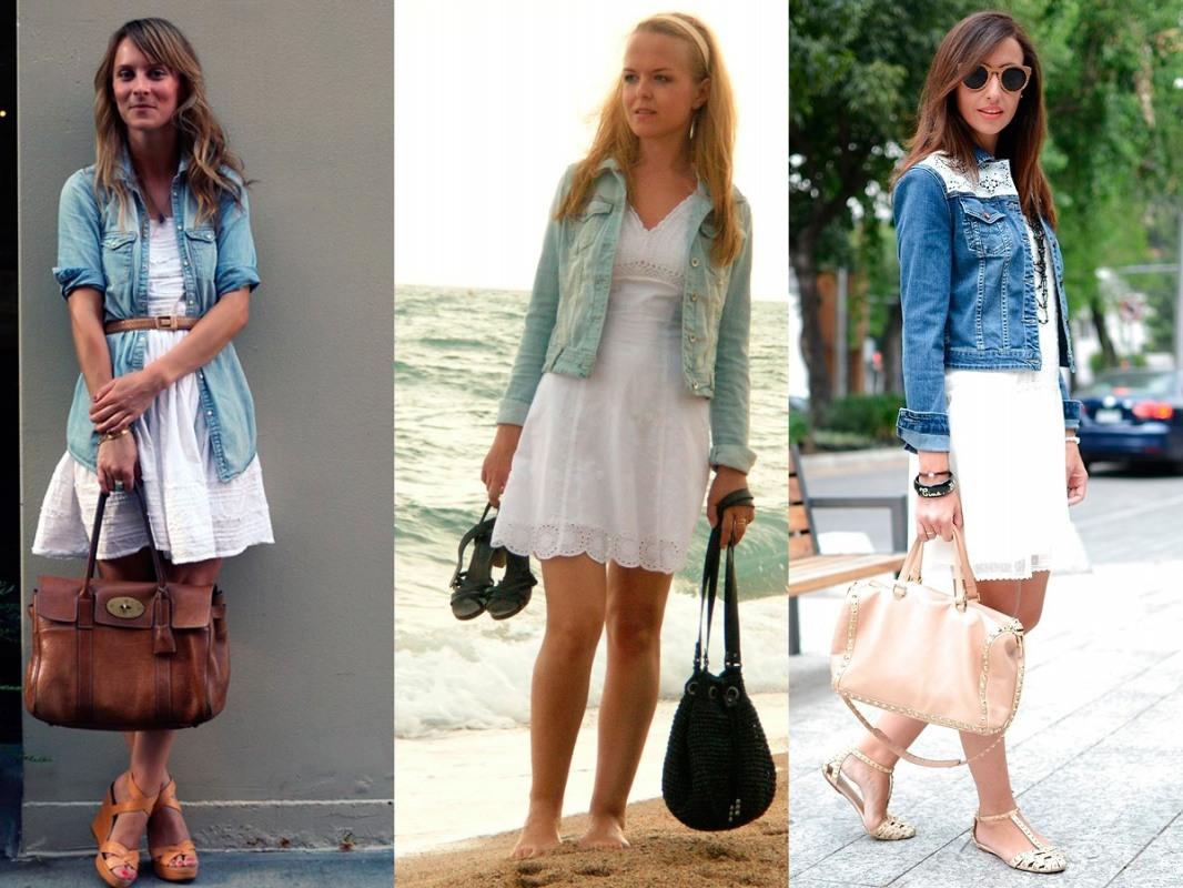 Сочетание нежного платья и джинсовой рубашки
