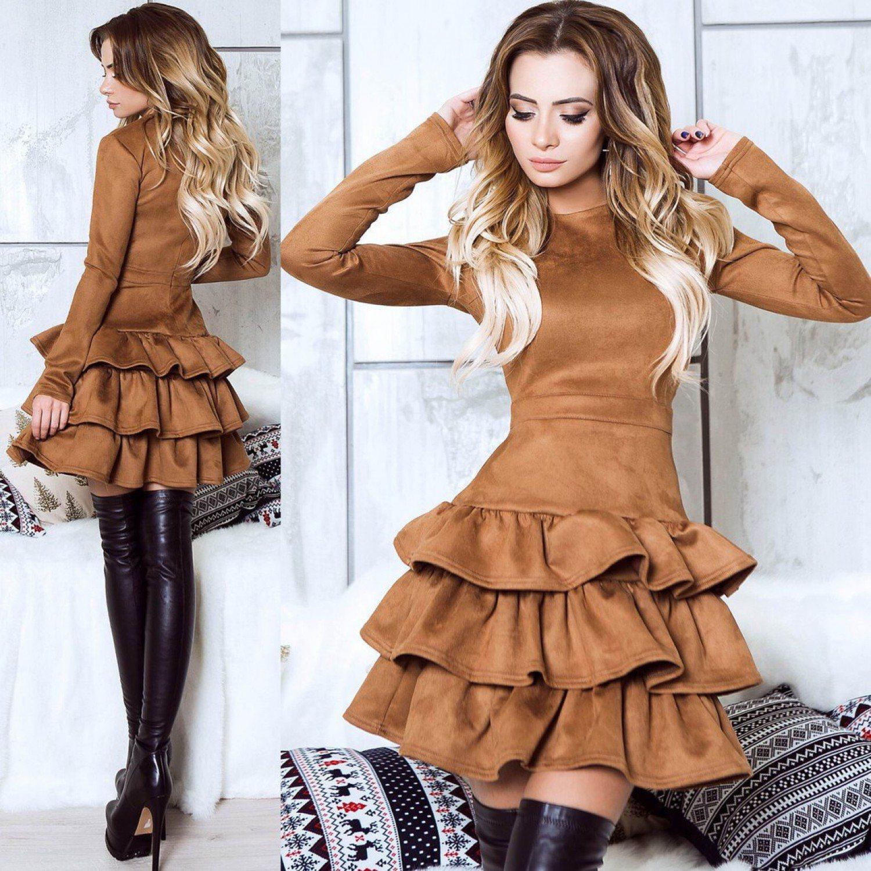 Платье с высокими сапогами