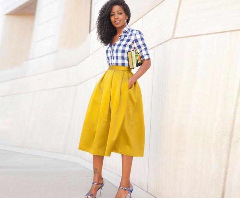 Пышная желтая юбка