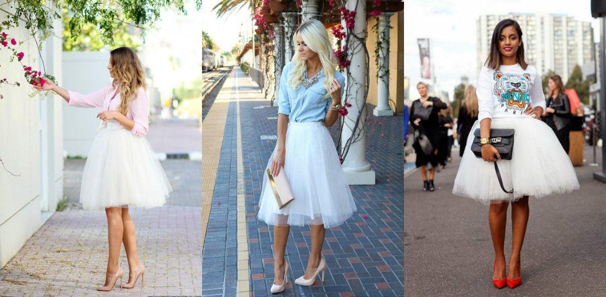 Образ с белой юбкой