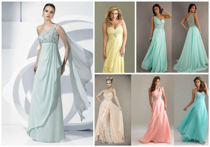 Нежные цвета вечерних платьев