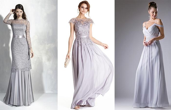 Вечерние платья серебристого цвета
