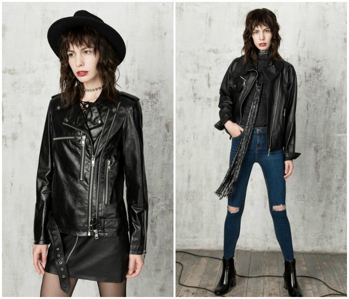 Образ с кожаной курткой черного цвета