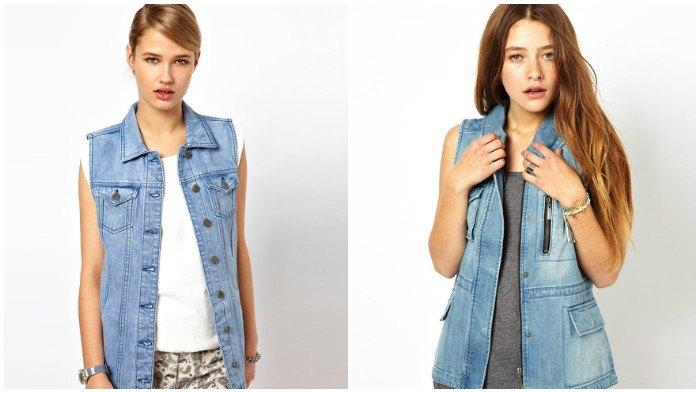 Модная джинсовая куртка-безрукавка