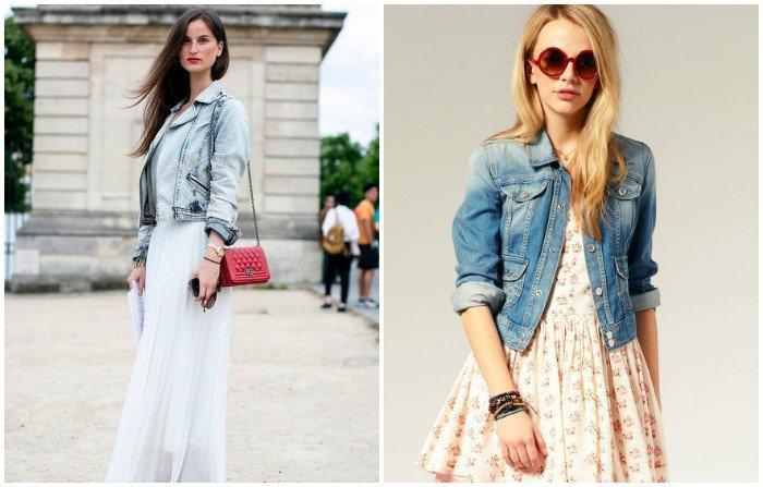 Романтический образ платья с джинсовой курткой
