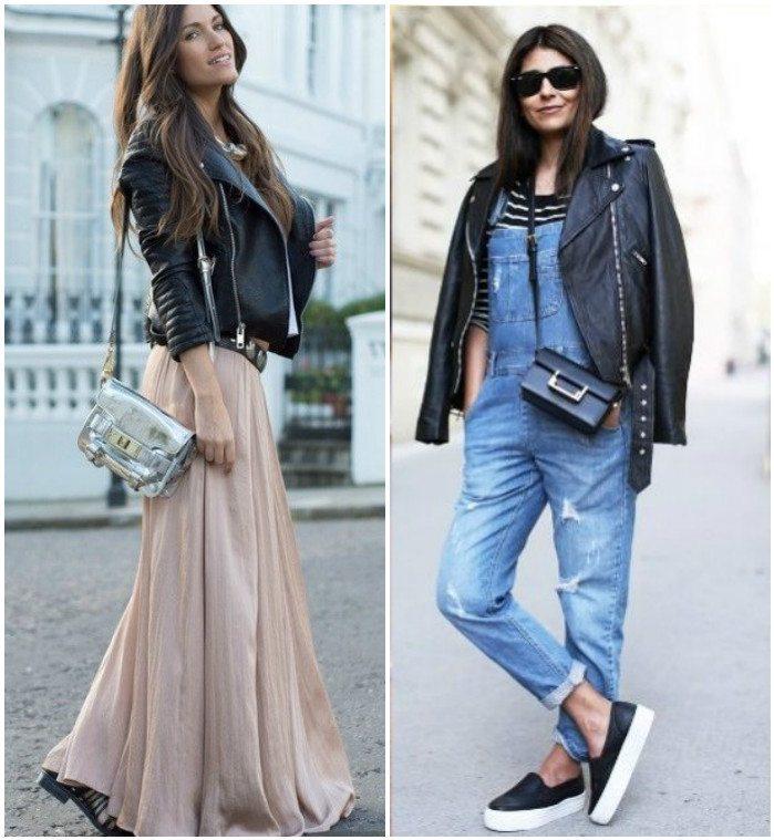 Модный образ с курткой-косухой на плоской подошве
