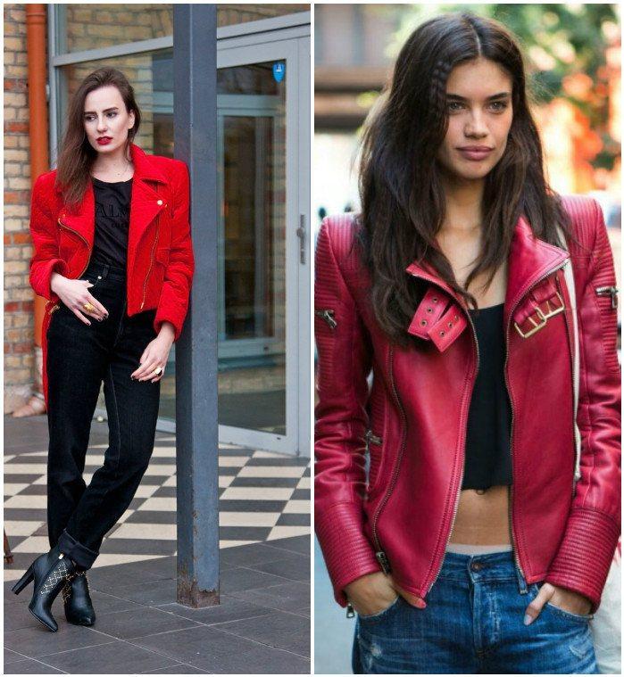 Модные куртки-косухи в красном цвете