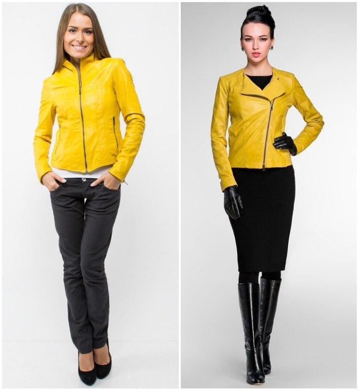 Яркий образ с желтой курткой-косухой